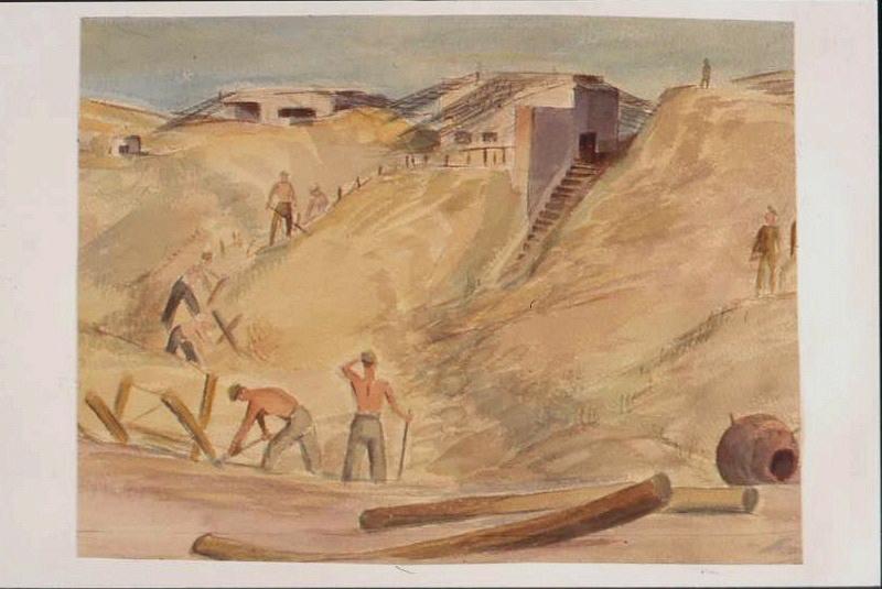 Prisonniers travaillant dans les dunes devant un blockhaus par temps sombre, avec deux billots de bois au premier plan (titre factice)_0