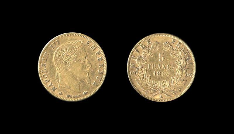 NAPOLEON III (émetteur), BARRE Jean-Jacques (graveur) : Napoléon III 5 francs or