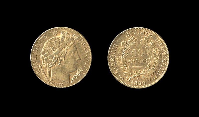 TROISIEME REPUBLIQUE (émetteur), MERLEY Louis (graveur) : Troisième République 10 francs or type Cérès