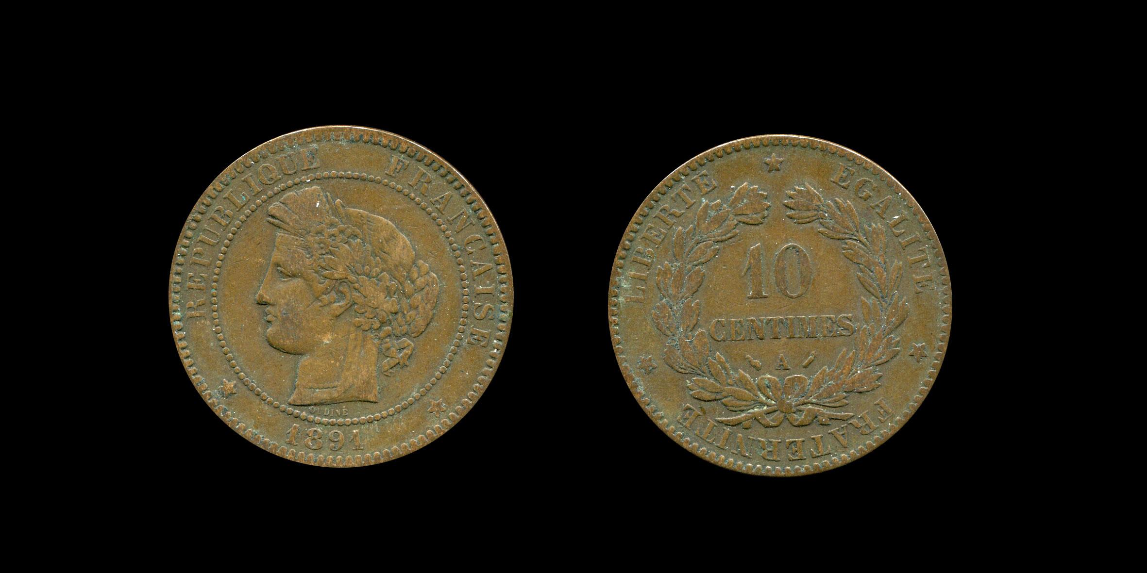 Troisième République 10 centimes type Cérès