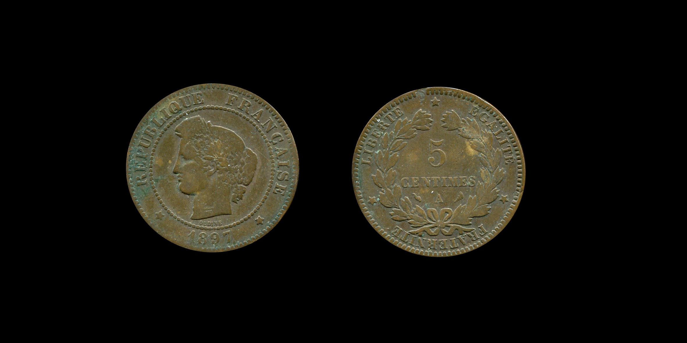 Troisième République 5 centimes type Cérès_0