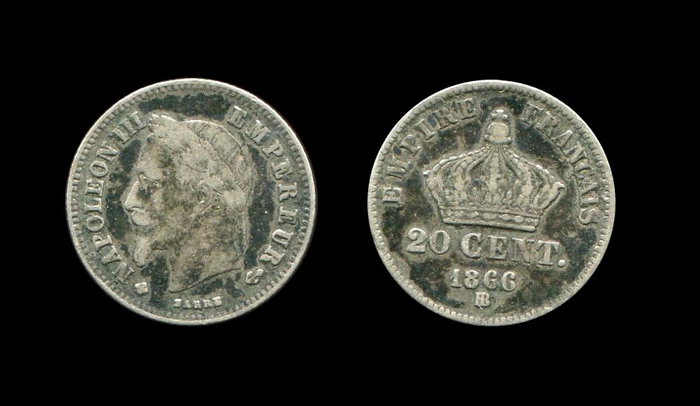 Napoléon III 20 centimes type tête laurée