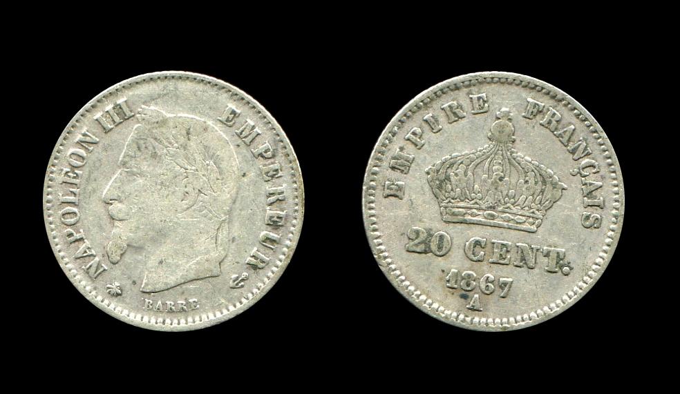 Napoléon III 20 centimes type tête laurée_0