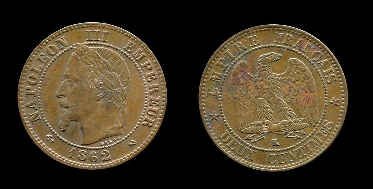 Napoléon III 2 centimes type tête laurée_0