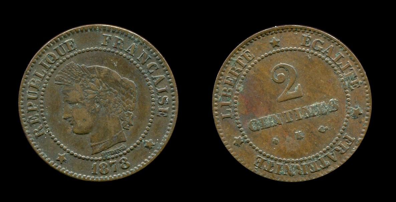 Troisième République deux centimes type Cérès_0