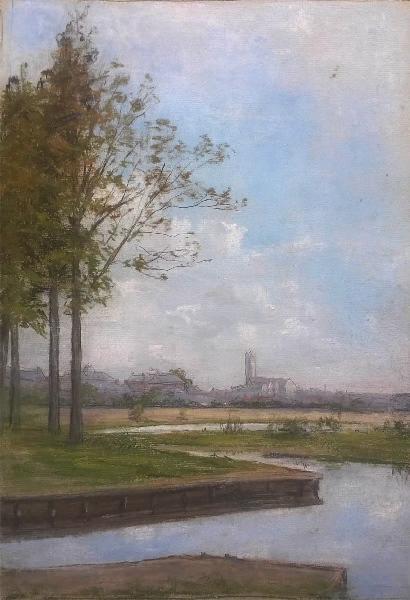 MICHEL Félix (dessinateur) : Vue de Péronne et des étangs depuis Flamicourt