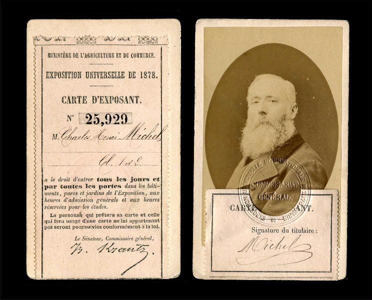 Carte d'exposant du peintre Charles-Henri Michel à l'Exposition universelle de 1878_0