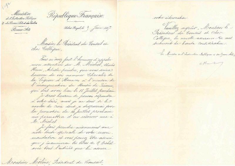 Lettre d'intervention du Palais-Royal le 9 juin 1897_0