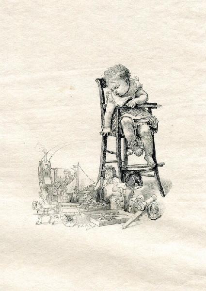 ROUXEL Philibert (graveur), LOBRICHON Timoléon Marie (d'après) : Un jeune enfant, assis sur une chaise haute (titre factice)
