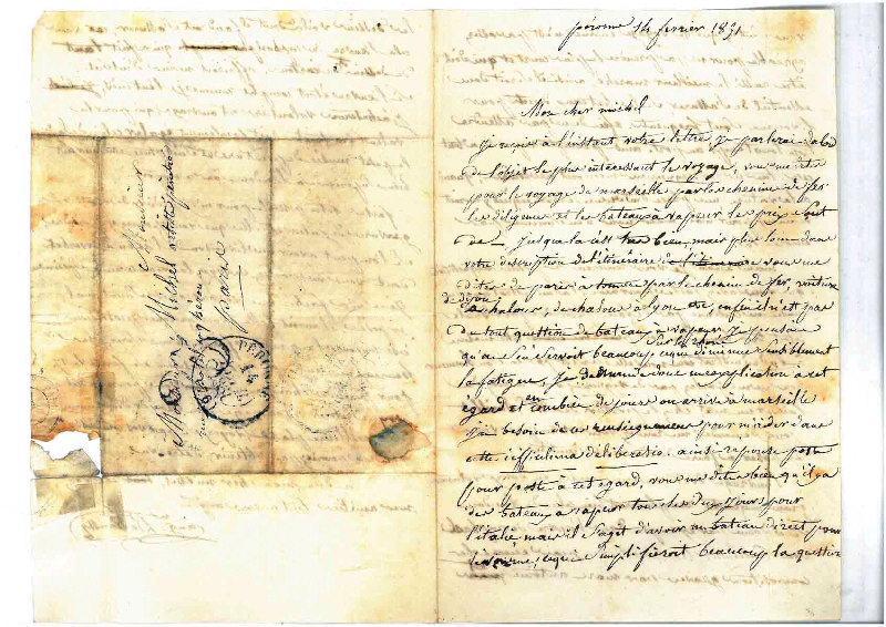 Lettre d'Auguste Dehaussy à son élève et ami Charles Henri Michel