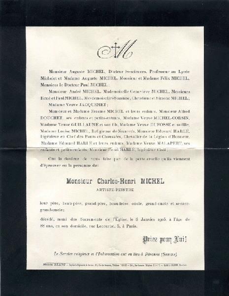 MAISON BLANC (imprimeur) : Exemplaire du faire-part de décès du peintre picard Charles-Henri Michel