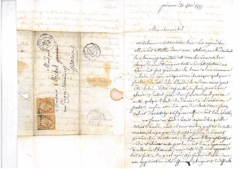 DEHAUSSY Auguste (auteur) : Lettre du peintre péronnais Auguste Dehaussy à son élève et ami le peintre picard Charles-Henri Michel