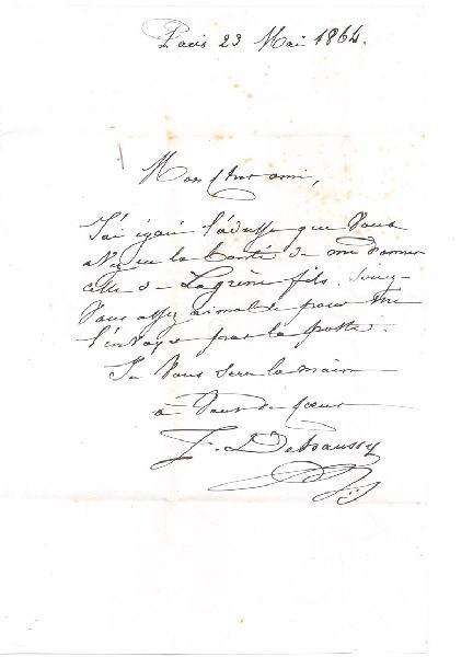 DEHAUSSY Jules Jean-Baptiste (auteur) : Paris 23 Mai 1864 (courrier du peintre Jules Dehaussy à son collègue et ami Charles-Henri Michel)