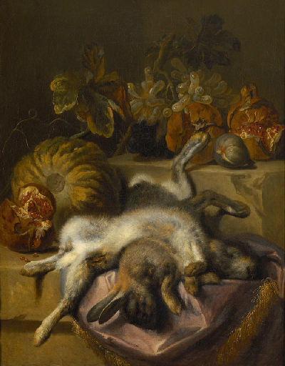 Nature morte : deux lièvres morts avec une citrouille