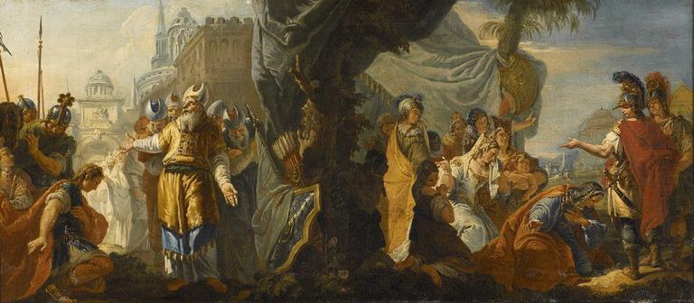 Alexandre et la famille de Darius ; Alexandre rend hommage au grand prête Jaddoua_0