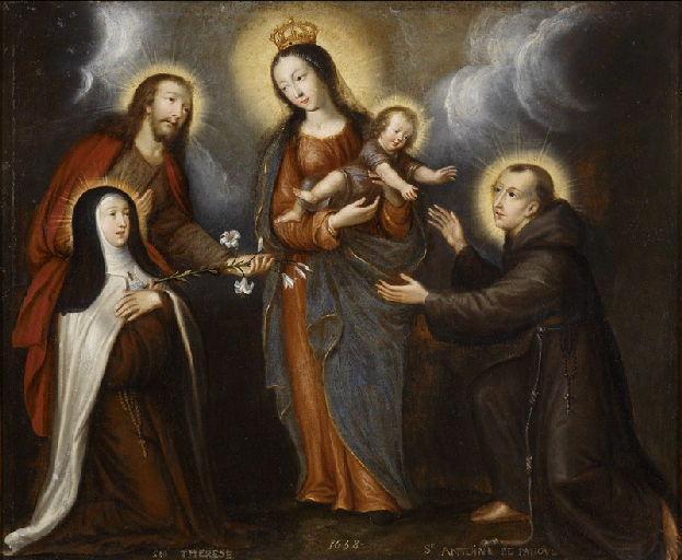 Vierge à l'Enfant avec saint Joseph présentant sainte Thérèse d'Avila et saint Antoine de Padoue_0