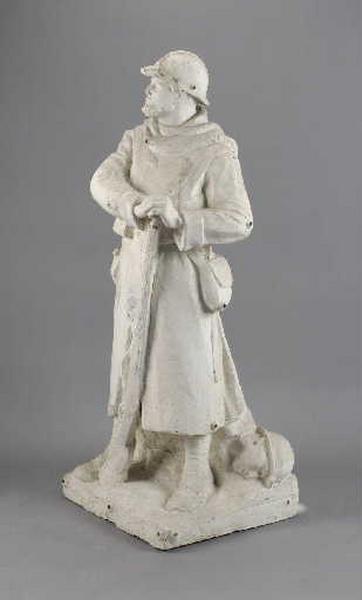 Modèle pour le Monument aux morts de Druillat (poilu appuyé sur son fusil)