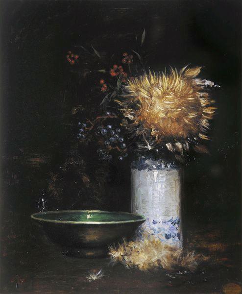 Vase de fleurs et jatte verte_0