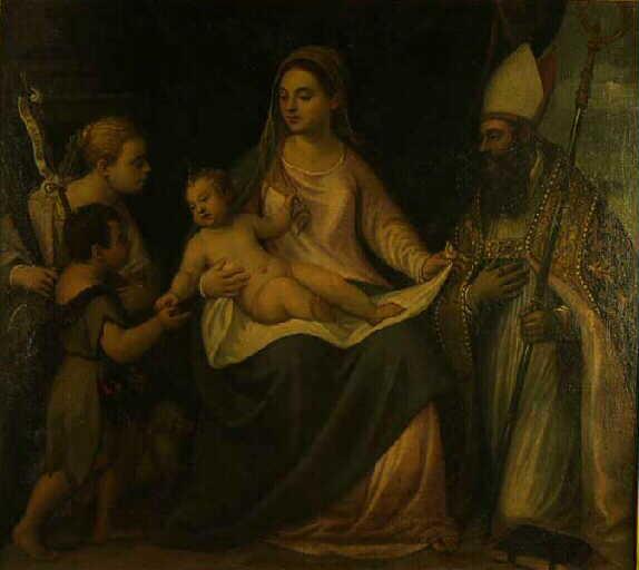 Vierge à l'enfant avec trois saints : Ste Cécile, St Jean Baptiste et un évêque_0