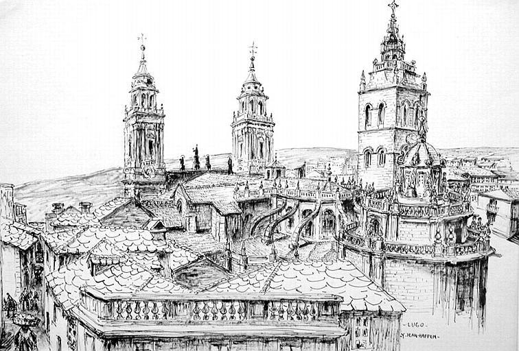 Lugo, vue plongeante des fortifications [titre attribué]_0