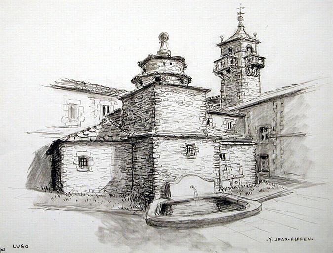 Lugo : cheminée de la cuisine et tour de l'église San Francisco_0