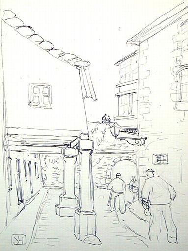 Arche et maisons à porches (Lugo) : esquisse [titre attribué]_0
