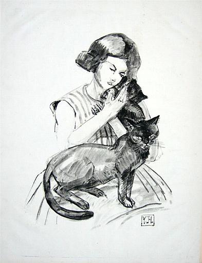 Jeune fille au chats [titre attribué]_0