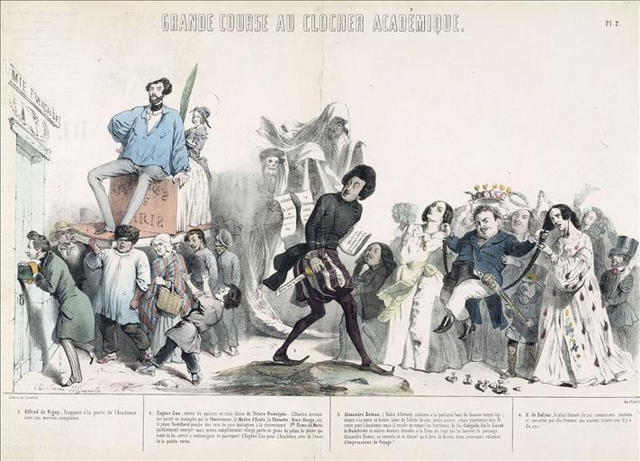 Grande course au clocher académique, Le Charivari du 20 février 1844