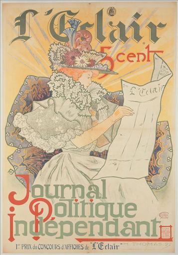 L'Eclair / Journal / Politique / Indépendant / 5 cent / 1er Prix du Concours d'Affiches de 'L'Eclair'_0