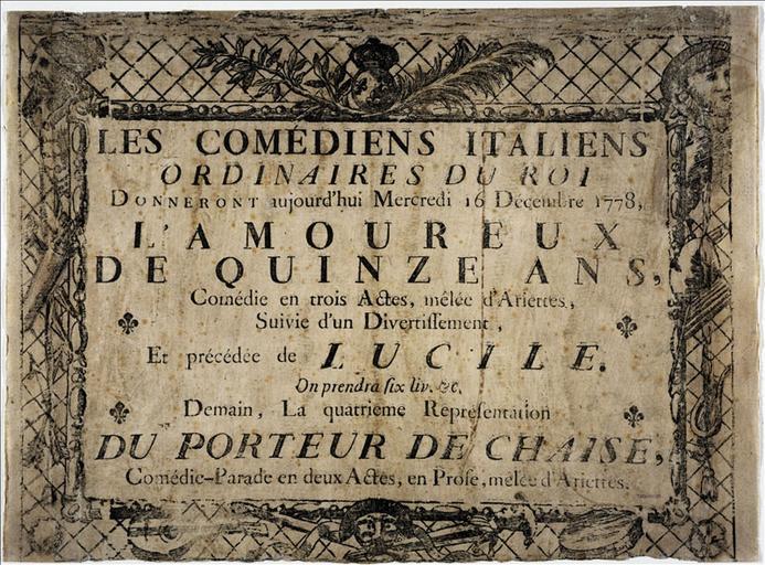 Les Comédiens Italiens / Ordinaires du Roi / L'Amoureux / De Quinze Ans / Lucile / Du Porteur de Chaise_0
