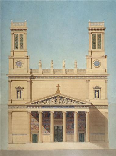 Projet pour la façade de l'église Saint-Vincent-de-Paul, place Franz Liszt (10 ème arrondissement, Paris)_0