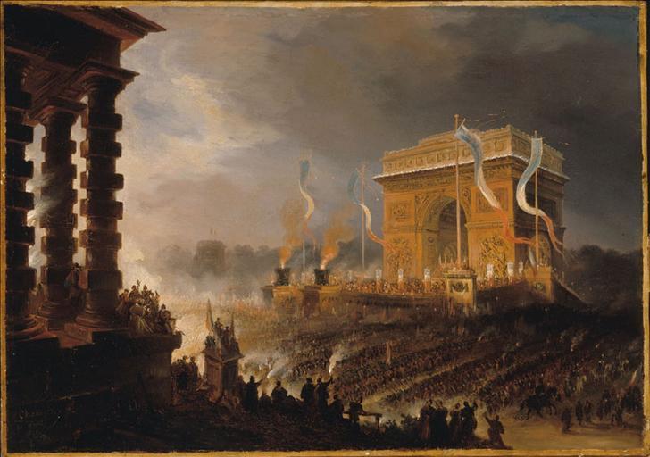 Fête de la Fraternité à l'arc de triomphe de l'Etoile : défilé après la distribution des drapeaux, le soir du 20 avril 1848_0