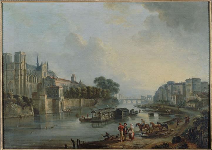 Vue de Notre-Dame, de l'archevêché et du quai des Bernardins, vers 1775 (actuels 4ème et 5ème arrondissements, Paris)_0
