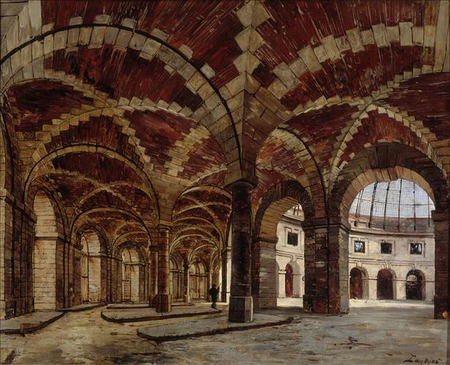 Vue intérieure de l'ancienne Halle au blé, en 1886, 1er arrondissement. Paris_0