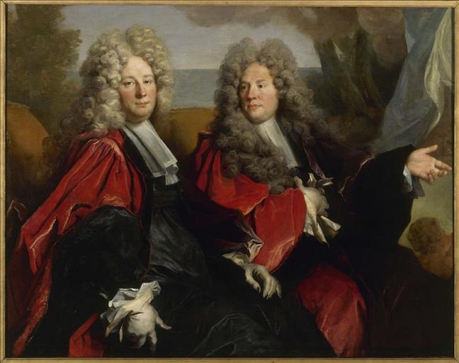 Portrait de deux échevins en fonction en 1702 : Hugues Desnotz, à droite, et un inconnu, supposé Boutet, à gauche_0