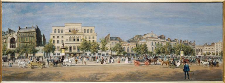 Vue générale des théâtres du boulevard du Temple, avant le percement du boulevard du Prince-Eugène (actuel boulevard Voltaire), en 1862, actuel 11ème arrondissement, Paris_0