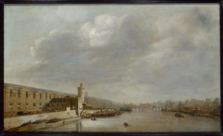 La Grande Galerie du Louvre, avec la porte Neuve, la tour de Bois, le Pont-Neuf, la Cité et la tour de Nesle, vers 1640 (actuels 1er et 6ème arrondissements)_0