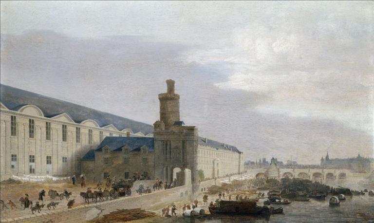 La Grande Galerie du Louvre, avec la porte Neuve, la tour de Bois, la partie nord du Pont-Neuf avec la Samaritaine, l'île de la Cité, vers 1640 (actuel 1er arrondissement)