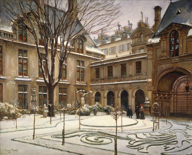Le jardin du musée Carnavalet ; effet de neige (3ème arrondissement)_0