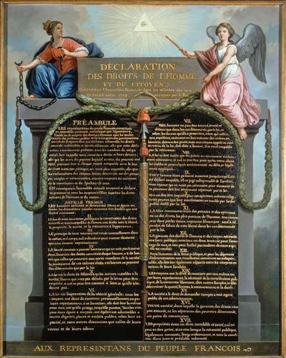Déclaration des droits de l'homme et du citoyen. La Monarchie, tenant les chaînes brisées de la Tyrannie, et le génie de la Nation, tenant le sceptre du Pouvoir, entourent le préambule de la déclaration