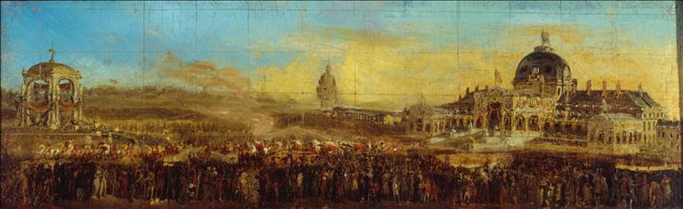 Fête du 10 mai 1852, au Champ-de-Mars ; départ du Prince-Président, après la bénédiction des drapeaux (actuel 7ème arrondissement, Paris)_0