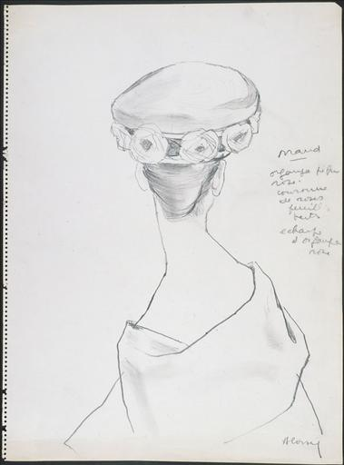Chapeau de Maud organza [ ?] rose / couronne de roses / feuilles vertes / écharpe d´organza [ ?]_0