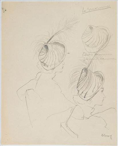 Trois dessins d'un chapeau de Lemonnier. feutre saumon / plumes blanches_0