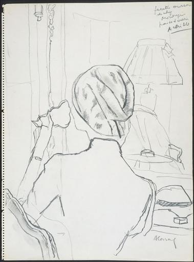Femme assise dans un salon, buvant une tasse de thé. Chapeau d'Achille. feutre [ ?] / passe écrasée_0