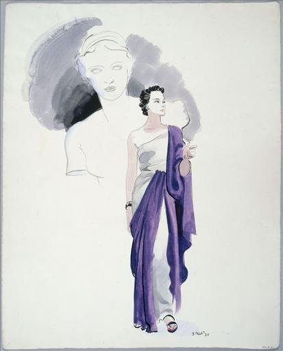 Robe tunique, grand drapé violet sur le bras gauche. Esquisse d'un buste de statue grecque_0