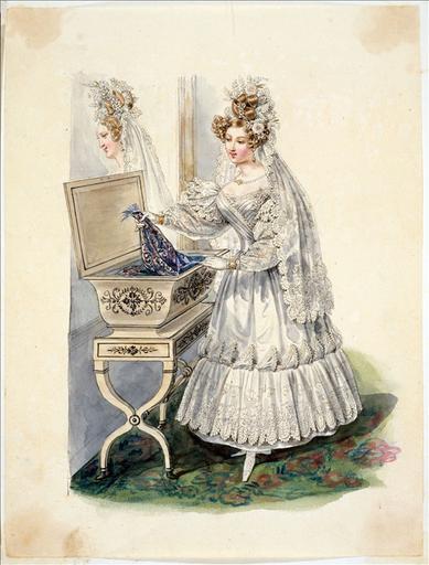Elément d'un album de 77 aquarelles pour le Journal des Dames et des Modes, 1831-1832. Dessin pour le Journal des Dames et des Modes, n°65, 25 novembre 1831, n° 2938 - Planche 1 : Robe de mariée et corbeille de mariage à pieds_0