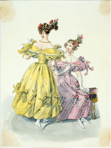 Elément d'un album de 77 aquarelles pour le Journal des Dames et des Modes, 1831-1832. Dessin pour le Journal des Dames et des Modes, n°16, 20 mars 1832 - Planche 13 : Coiffure ornée de roses trémières. Robe de crêpe ornée de rubans_0