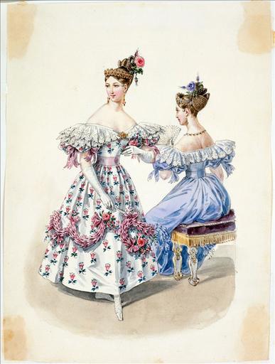 Elément d'un album de 77 aquarelles pour le Journal des Dames et des Modes, 1831-1832. Dessin pour le Journal des Dames et des Modes, n°9, 15 février 1832 - Planche 15 :Robe de gaze brodée_0