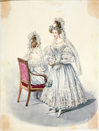 Elément d'un album de 77 aquarelles pour le Journal des Dames et des Modes, 1831-1832. Dessin pour le Journal des Dames et des Modes, n°32, 10 juin 1832 - Planche 16 : Toilette de mariée. Robe de moire blanche_0