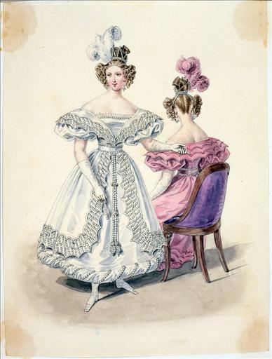 Elément d'un album de 77 aquarelles pour le Journal des Dames et des Modes, 1831-1832. Dessin pour le Journal des Dames et des Modes, n°11, 25 février n1832 - Planche 20 : Coiffure ornée de perles. Tunique en crêpe garnie de perles_0